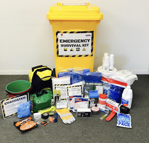 Emergency survival kit in a yellow wheelie bin large