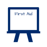 Classroom white board with First Aid written on it