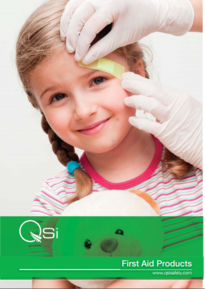 Girl with teddy having plaster applied to eyebrow