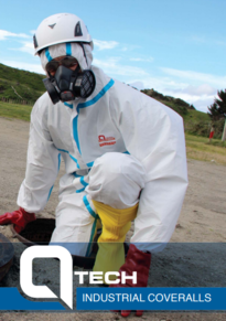 man wearing industrial coveralls, gloves, gumboots, hard hat and gas mask