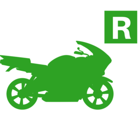 Green road bike motorcycle silhouette with restricted plate