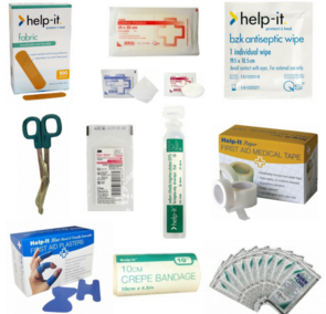 First Aid Kit Survival Kit Equipment for restocking plasters dressings antiseptic wipes bandage scissors bandages gauze eye pads steri strips saline solution paper medical tape blue knuckle plasters crepe bandages burns gels